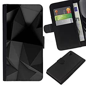 WINCASE (No Para Z2 Compact) Cuadro Funda Voltear Cuero Ranura Tarjetas TPU Carcasas Protectora Cover Case Para Sony Xperia Z2 D6502 - arte moderno geométrica gris negro