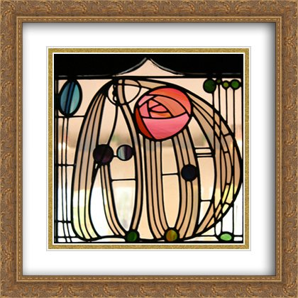 Stained Glass Window, The Hill House Glasgow 2X Matted 28x28 Large Gold Ornate Framed Art Print by Charles Rennie Mackintosh