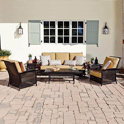 Coyote Outdoor Living Catalina 6 Piece Aluminum Patio Deep Seating Conversation Set W/Sofa & 2 Club Chairs