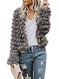 Faisean Womens Open Front Faux Fur Coat Vintage Parka Shaggy Jacket Cardigan