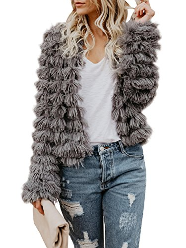 Womens Open Front Faux Fur Coat Vintage Parka Shaggy Jacket Cardigan Grey
