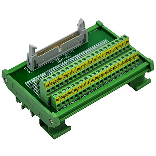 (CZH-LABS DIN Rail Mount IDC-40 Male Header Connector Breakout Board Interface Module, IDC Pitch 0.1
