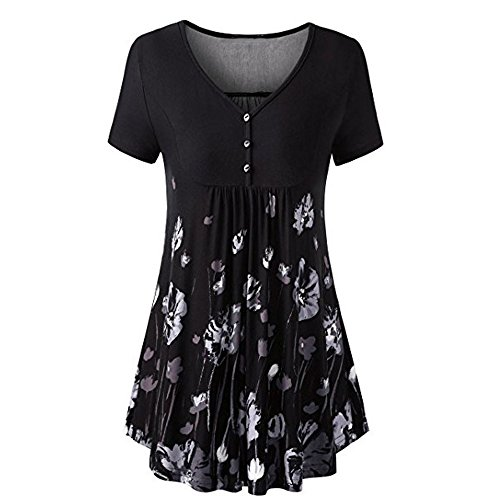 Tops and Blouses for Women,Chaofanjiancai Ladies Short Sleeve O-Neck Tunic Shirts Irregular Hem Loose Casual Tee T-Shirt Tops (M, Black03)