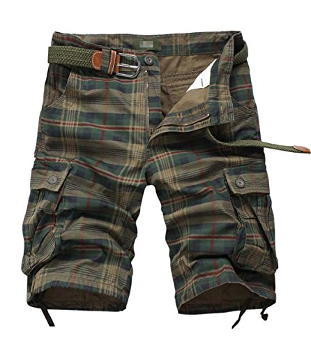 Tanming Men's Summer Loose Fit Multi Pockets Plaid Cargo Shorts Walk Shorts(Small, Green) Plaid Knee Shorts