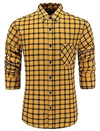Emiqude Men's 100% Cotton Slim Fit Long Sleeve Plaid Button-Down Checked Dress Shirt