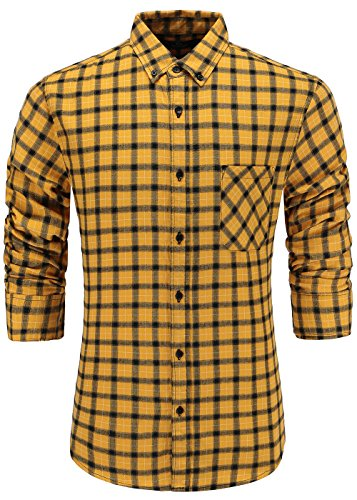 - Emiqude Men's 100% Cotton Slim Fit Long Sleeve Plaid Button-Down Checked Dress Shirt XL Yellow Black