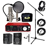 Home Recording Studio Bundle CAD GXL2200SP MH110 Stand Focusrite Scarlett 2i2 (2nd GEN) Samson Media ONE BT3 Speakers