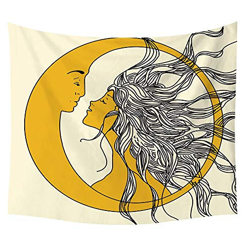 (SOFTBATFY Psychedelic Celestial Sun Moon Planet Bohemian Tapestry Wall Hanging Dorm Decor Boho Tapestries Hippie Hippy Purple tie dye Tapestry (Large-5879inches, Sun and Moon) )