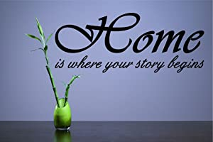 Home is Where Your Story Begins Vinyl Wall Decals Quotes Sayings Words Art Decor Lettering Vinyl Wall Art Inspirational Uplifting