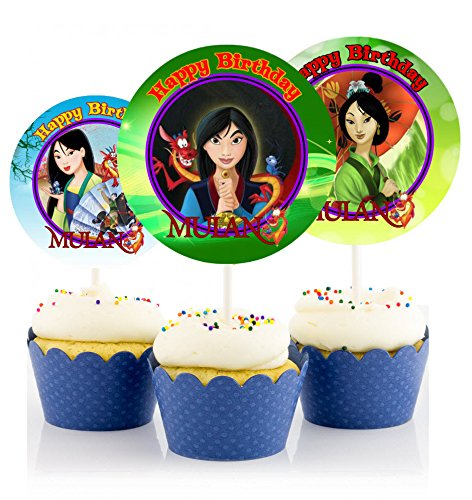 12 MULAN Birthday Inspired Party Picks, Cupcake Picks, Cupcake Toppers #1