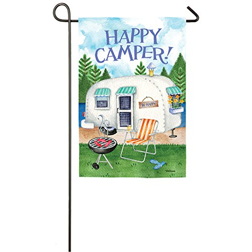 Evergreen Happy Camper Outdoor Safe Double-Sided Suede Garden Flag, 12.5 x 18 inches