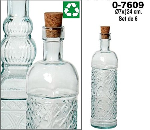 DonRegaloWeb - Set de 6 botellas de vidrio reciclado en color transparente