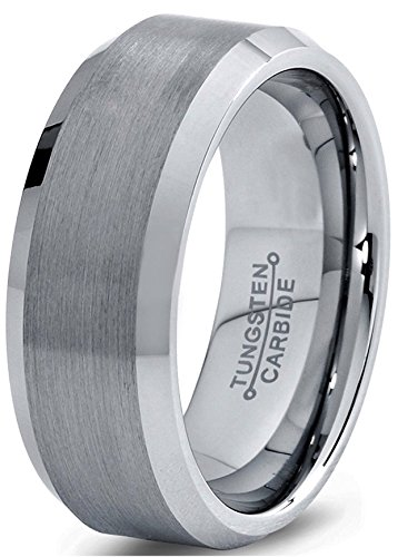 Oceanus Tungsten Carbide Wedding Band Ring for Men Women Polished Beveled Edge Matte Brushed Finish Comfort Fit 6mm or 8mm width (8mm width Tungsten Carbide, 10.5)