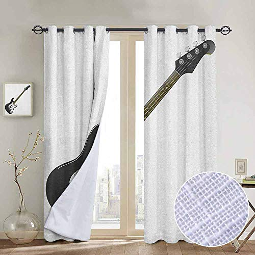 NUOMANAN Bedroom Curtains Guitar,Bass Four String Rhythm Music Rock and Roll Element Detailed Illustration, Black White Caramel,Thermal Insulated Room Darkening Window Shade 100