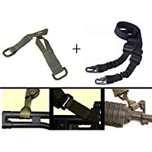 Ultimate Arms Gear IDF Israeli Defense Forces Pair of Slip On OD Olive Drab Green Loop Adapter Attachment with D-Ring + Sling, Black For ATI German Sports Gun GSG5 GSG-5 MP5 Savage Axis 99