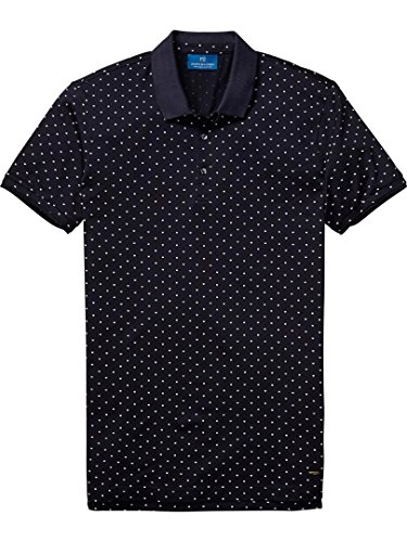 Scotch & Soda Men's Polo in Mercerized Jersey Quality with Mini All Over Print Combo A Shirt -