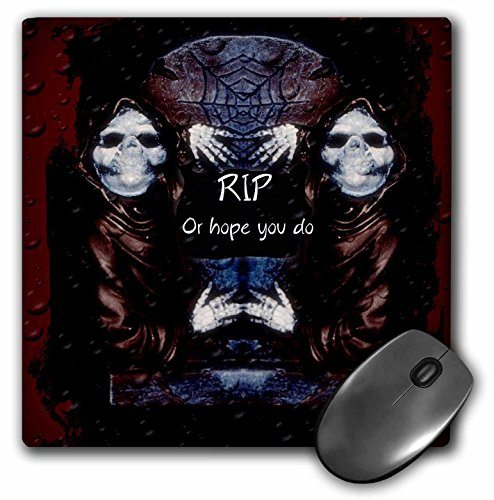 (3dRose ET Photography - Halloween Designs - Grim reaper with tombstone and Halloween saying - MousePad)