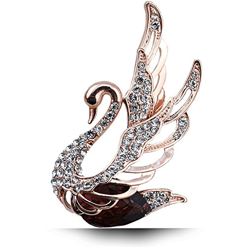 (XINCSLHF Crystal Swan Brooches for Women Elegant Noble Pins Rhinestone Dress Corsage Party Jewelry 3 Colors Choose red)