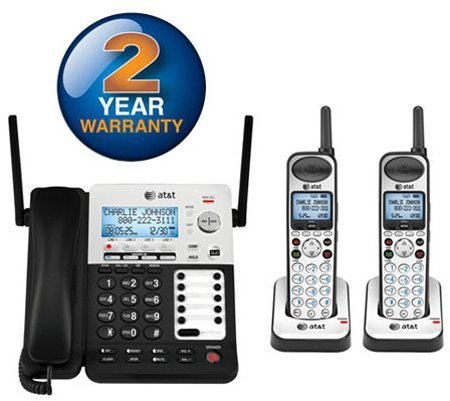 AT&T SB67138 SB67138 DECT 6.0 Phone/Answering System, 4 Line, 1 Corded/1 Cordless Handset ()