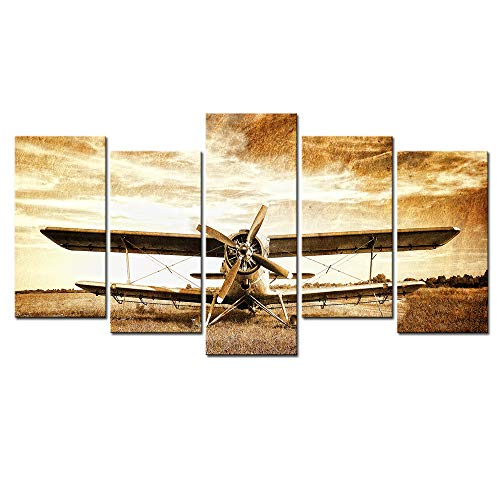 (Live Art Decor - Old Biplane Canvas Art,5 Pieces Retro Plane Picture Print on Canvas Wall Painting for Living Room Wall Decoration,Vintage Style Artwork,Framed)