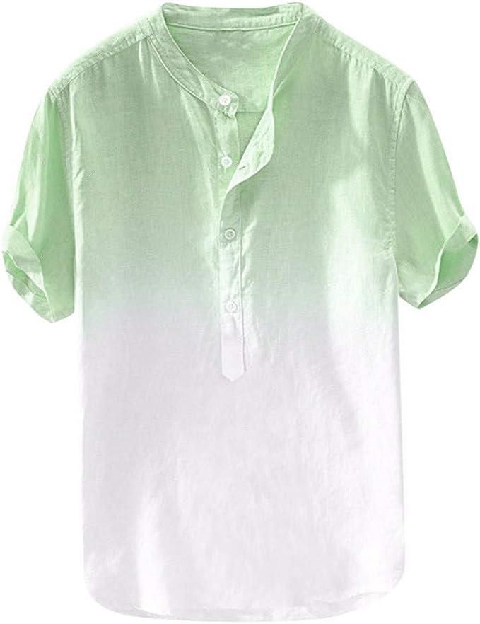 Aiserkly - Camisa de Verano para Hombre, Transpirable, Fina, Transpirable, cómoda para Colgar, de algodón Degradado, Ligera, Azul, Naranja, Verde, Amarillo: Amazon.es: Ropa y accesorios