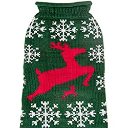 Christmas Festive Holiday Pet Dog Sweater Costume | Perfect for Many Breeds of Dogs & Cats | Green with Red Reindeer and Snowflakes | Size Small | Measurements Body 25cm, Chest 32cm, Collar 24cm)