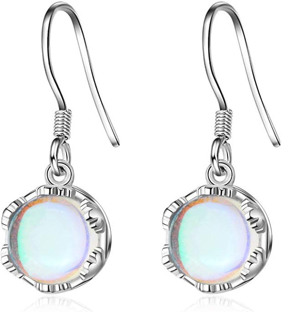 Pendientes clásicos de plata de ley 925 con piedra lunar ópalo, pendientes para mujer, estilo coreano, joyería de plata para mujer