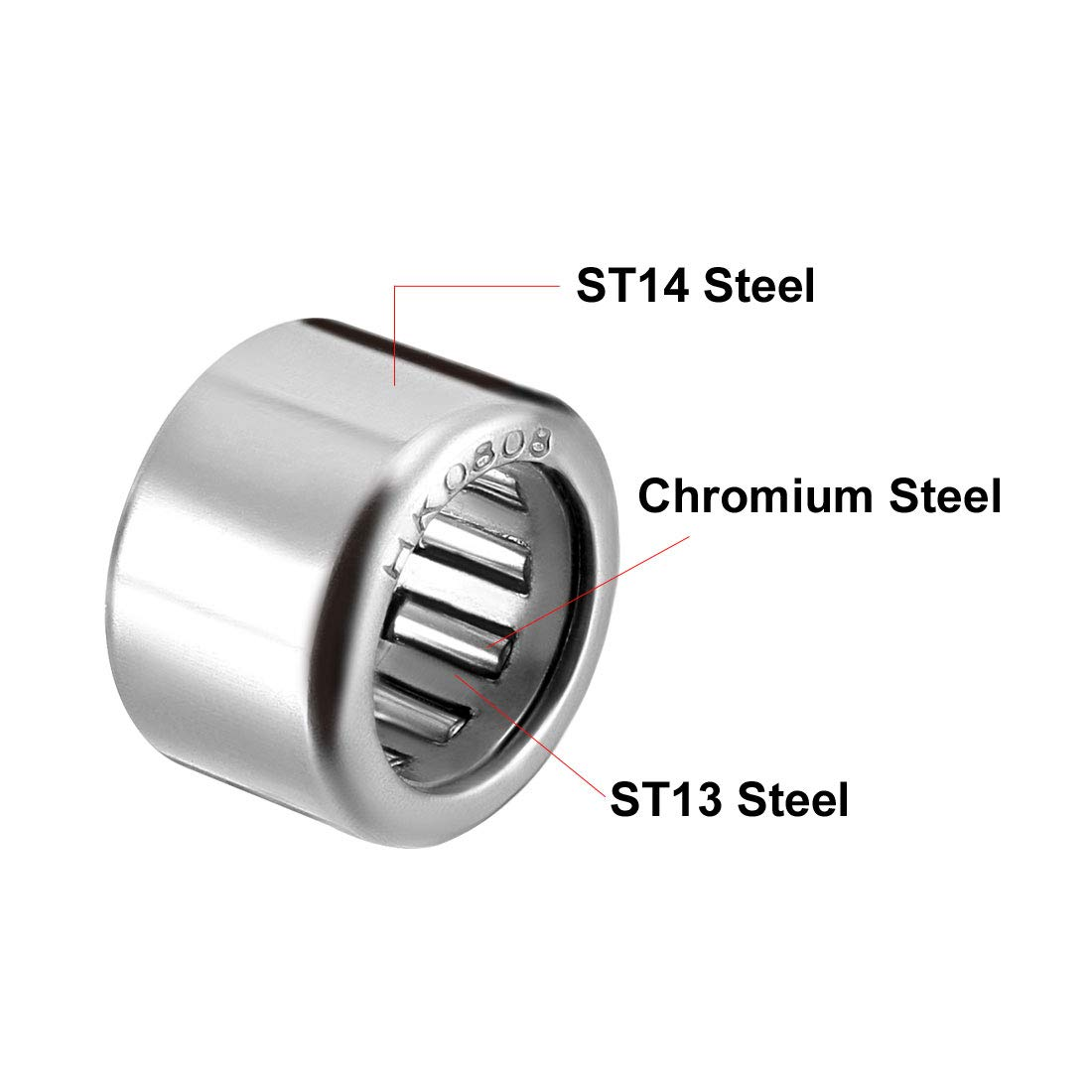 uxcell HK1012 Drawn Cup Needle Roller Bearings Open End 12mm Width 14mm OD 10mm Bore Dia Pack of 5