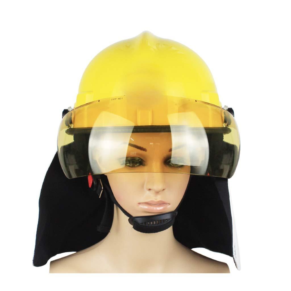 Hard Hat Fire Safety Helmet, Firemen 3C Certified Hard Hat Rescue Site Safety Helmet, Flame Retardant High Temperature Resistance Mask