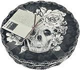 222 Fifth Halloween Marbella Skull 6-1/2'' Appetizer/Dessert/Canape Plates - Set of 4