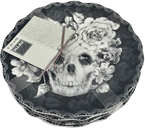 222 Fifth Halloween Marbella Skull 6-1/2'' Appetizer/Dessert/Canape Plates - Set of 4 by 222 Fifth Marbella Skull