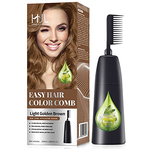 HJL Hair Color Ammonia-Free Permanent Hair Dye Cream with Comb Applicator, Light Golden Brown, Pack of 1