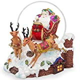 6'' Santa Sleigh and Reindeers Deliver Christmas Gifts Music Snow Globe