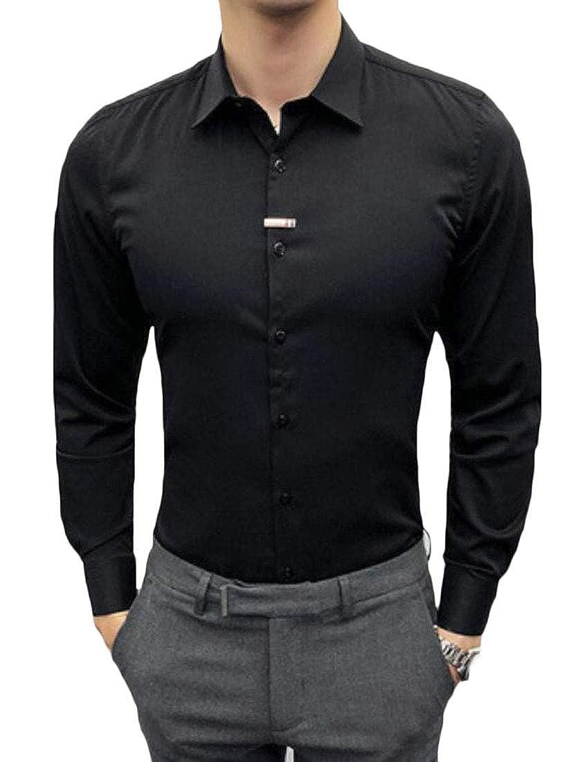 FRPE Men Slim Long Sleeve Button Down Nightclub Formal Solid Top Shirts
