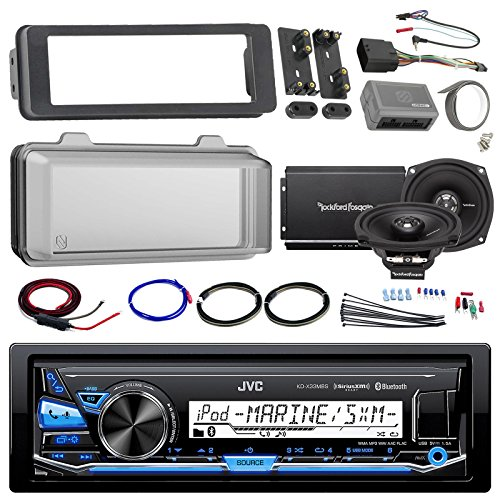 "Harley Audio Package Of JVC KDX33MBS Marine Radio Stereo Receiver Bundle Combo With Dash Trim Kit + Radio Cover + 2x 5.25"" Speakers + 2 Channel Amplifier W/ Install Kit + Handle Bar Conroller"