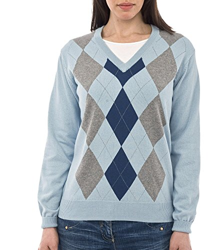 Cashmere Argyle Sweater (Wool Overs Women's Cashmere & Cotton V Neck Argyle Sweater Pale Blue Extra)