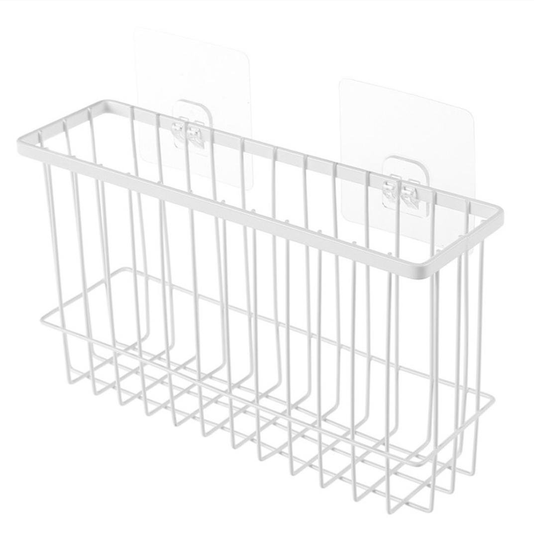 Loneflash Shelf Basket,Office Desk Dormitory Bedside Hanging Storage Baskets Iron Mesh Origanizer Caddy with Hook (White)