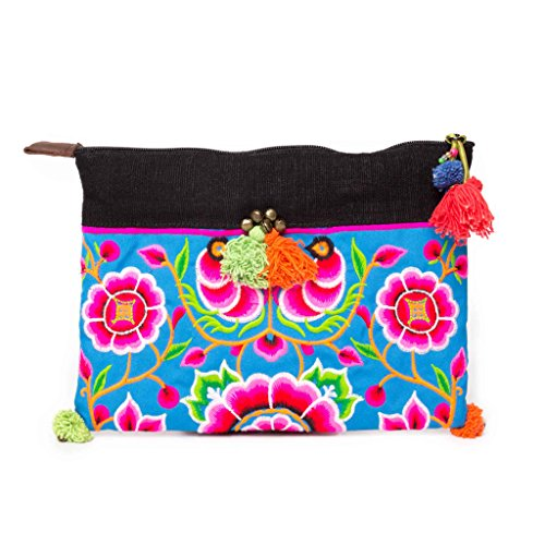 Changnoi Blue Silk Worm Thai Artisan Women Clutch Ipad Holder with Hmong Hill Tribe Embroidered ()