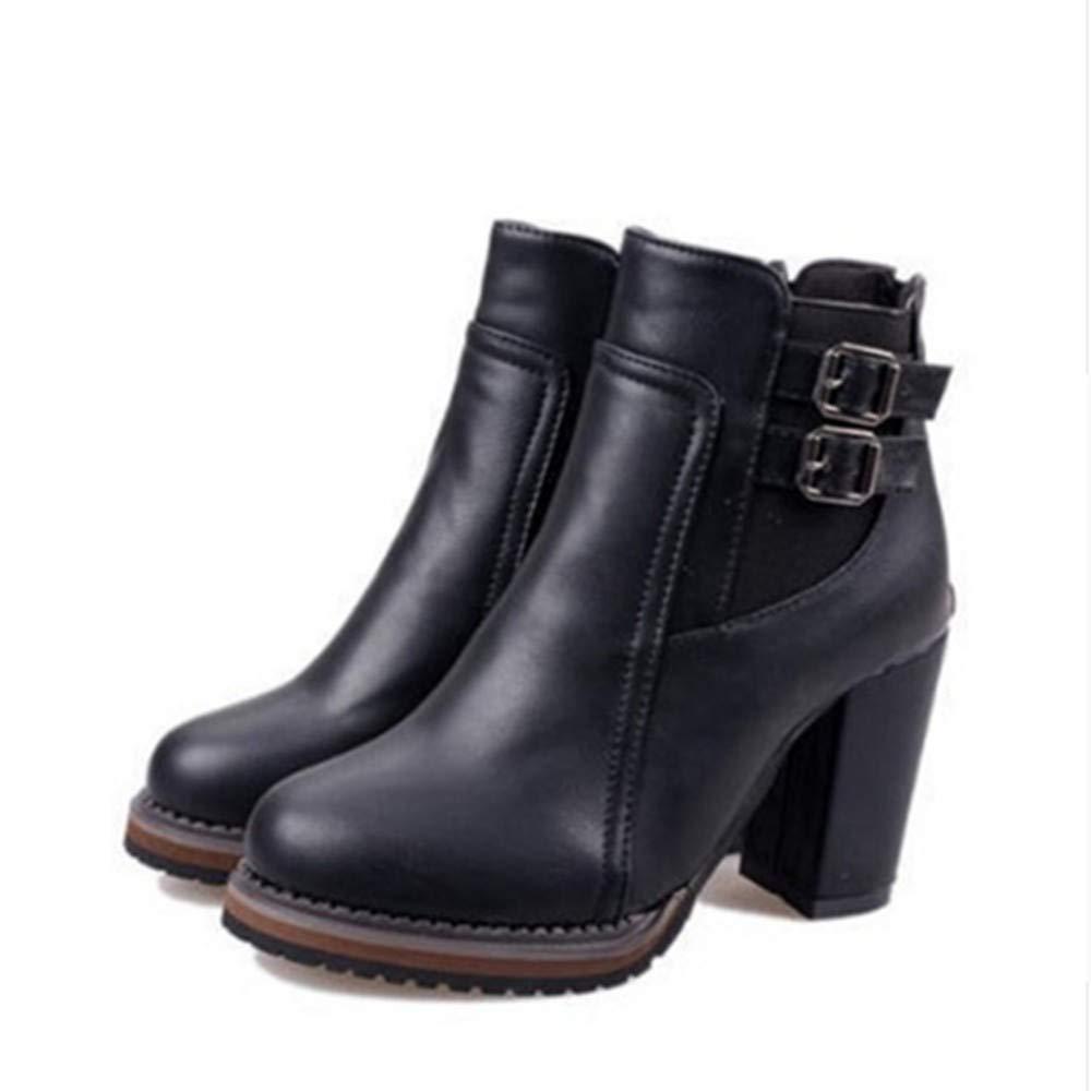 FMWLST Bottes Cheville Bottes Dames Plate-Forme Talons Femme Hauts Chaussures De Femme Talons Dames Boucle Bottes Courtes Chaussures De Loisirs 40 1f12f1