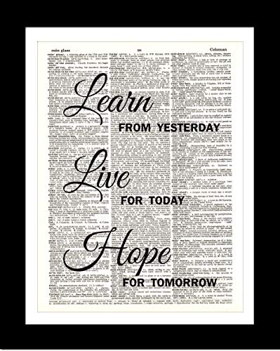 Learn Live Hope DICTIONARY ART PRINT - Inspirational Quotes - Wall Home Decor - Unframed Upcycled Vintage Dictionary Page Art Prints