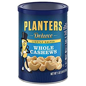Planters Deluxe Whole Cashews, Lightly Salted, 18.25 Ounce Canister