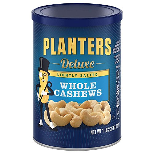 Planters Deluxe Whole Cashews, Lightly Salted, 1 lb 2.25 Ounce Canister Salt Cashew