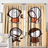 NUOMANAN Window Blackout Curtains Funny,Musician People Icons with Guitar Headphones Hip Hop Boy DJ Emo Song Star...
