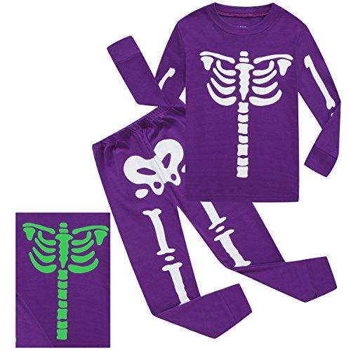 Girls Halloween Pajamas Kids Pjs Skeleton Glow-in-the-dark Toddler Halloween Clothes Size 4T