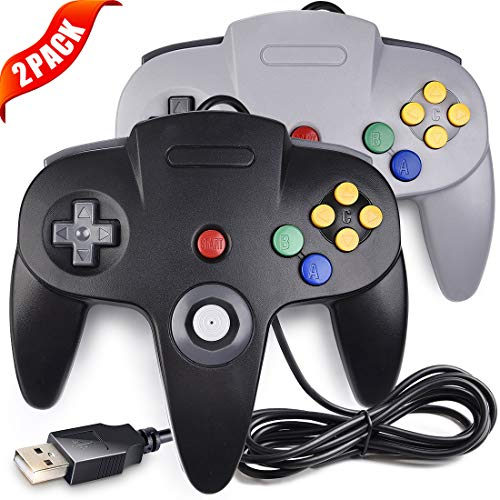 2 Pack LUXMO USB Game Controller for Classic N64 PC Gamepad Joystick Controller for N64 Windows PC Mac Linux Raspberry pi3 Genesis Higan Retro Pie (Gray & Black)