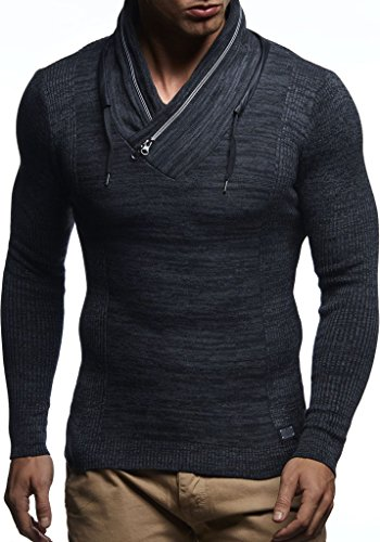 Longue Schwarz En Zipper Ln1585 Des Nelson Sweatshirt Pullover Feinstrick Tricot anthrazit Manche Sweater Pull Châle Col Pour Hoodie Leif Hommes TwOY1qYRnU