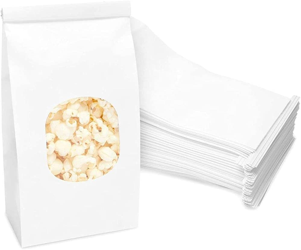 White Paper Treat Bags with Tin Ties (4.7 x 2.75 x 9.6 In, 60 Pack)