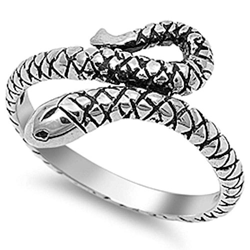 Oxford Diamond Co Solid Snake .925 Sterling Silver Ring Size ()