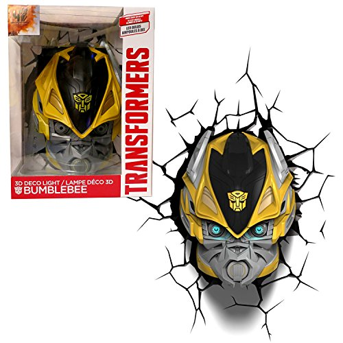 (3DLightFX Transformers Movie Age of Extinction Series Battery Operated 10 Inch Tall 3D Deco Night Light - BUMBLEBEE with Light Up LED Bulbs and Crack Sticker )
