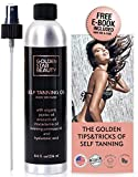 Self Tanner - Sunless Tanning Oil, Natural and Organic Ingredients, Self Tan Spray w/FREE Bonus Gloves & eBook, No Fake Tan Smell Streak Free for Perfect Golden Tan 8.0 fl.oz